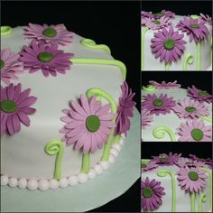 """""""Fuchsia Gerbera Daisy Cake"""" 