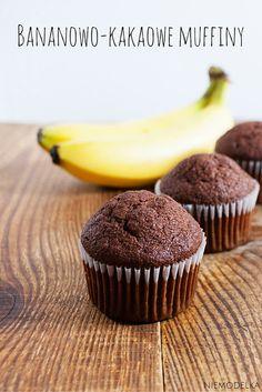 Bananowo-kakaowe muffiny. Clean eating chocolate banana muffins