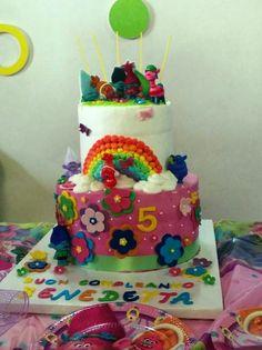 Torta Trolls party - idee - festa di compleanno a tema Trolls