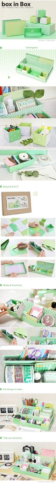 diy box Cardboard recycling, cover with material or paper to create stationary/desk organisation (just like as a kid Blue Peter style! Craft Storage, Storage Boxes, Storage Ideas, Diy Projects To Try, Craft Projects, Diy Paper, Paper Crafts, Handmade Paper Boxes, Diy Organisation