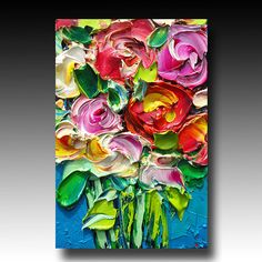 ORIGINAL Oil Painting Roses Art Palette knife Impasto RESERVED