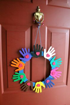 multi-cultural hand wreath