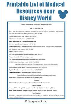 Disney medical resource list - Printable list of medical resources near Disney World Disney Vacation Planning, Orlando Vacation, Disney World Planning, Walt Disney World Vacations, Trip Planning, Disney Travel, Disney Destinations, Family Vacations, Disney World Tips And Tricks