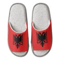 Albanian flag slippers pair of open toe slippers