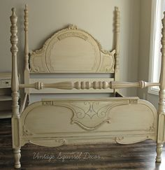 Antique 4 poster bed. Recreated using Annie Sloan Chalk paint Old Ochre as base, Versailles to highlight details and French Linen wash. Clear and dark wax highlighted.