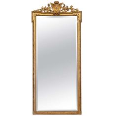 French Napoleon III Period Full Length Gold Leafed Mirror | From a unique collection of antique and modern floor mirrors and full-length mirrors at http://www.1stdibs.com/furniture/mirrors/floor-mirrors-full-length-mirrors/