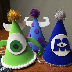 Monsters Inc. party hats! by studiodos on Etsy https://www.etsy.com/listing/234257655/monsters-inc-party-hats