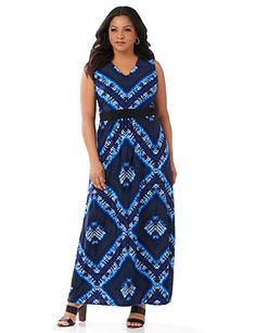 A tribal-inspired diamond pattern covers this eye-catching maxi dress. Soft, silky fabric drapes beautifully. A solid band accentuates the empire waist for a figure-flattering silhouette. At the back, a cutout design adds interest. V-neckline. Sleeveless.  Catherines dresses are expertly designed for the plus size woman. catherines.com