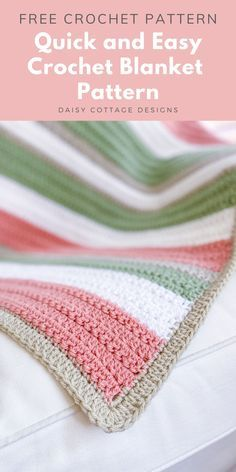 Use this quick and easy crochet blanket pattern to create this beautiful crochet blanket from Daisy Cottage Designs. This easy crochet pattern is a great crochet tutorial to add to your collection of free crochet patterns for beginners. #crochetpatterns #freecrochetpattern #crochetpatternforbeginners #crochettutorial #quickandeasycrochet Crochet Stitches For Blankets, Crochet Stitches Patterns, Baby Knitting Patterns, Easy Crochet Baby Blankets, Free Crochet Afghan Patterns, Blankets For Babies, Crochet Baby Afghans, Throw Blankets, Crochet Designs