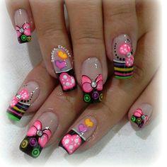 Imagenes Crazy Nail Art, Crazy Nails, Cute Nail Art, Long Nail Designs, Nail Art Designs, Magic Nails, Diva Nails, Butterfly Nail, French Tip Nails
