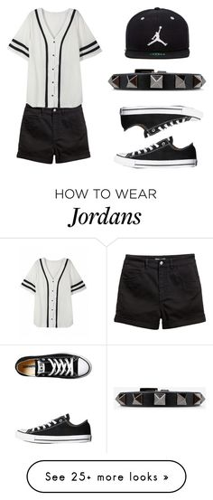 """""""Untitled #227"""" by ctpyp on Polyvore featuring Converse, Jordan Brand, Valentino, blackandwhite and contestentry"""