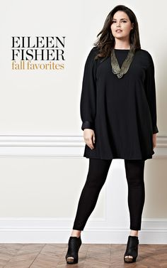 A LBD for the plus size girl. It's silk so you can wear it in the spring and summer. For fall / winter layer leggings or thick tights underneath. plussize Eileen Fisher Silk A-line Dress (Plus Size) Look Plus Size, Plus Size Women, Average Size Women, Eileen Fisher, Plus Size Dresses, Plus Size Outfits, Thick Tights, Casual Outfits, Cute Outfits