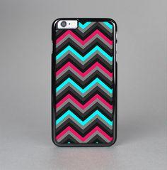 The Sharp Pink & Teal Chevron Pattern Skin-Sert for the Apple iPhone 6 Plus Skin-Sert Case