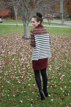Cardigan paired with sweater dress and booties