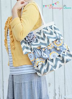 Gray Chevron Ruffled Tote Bag with Removable Flower Pin