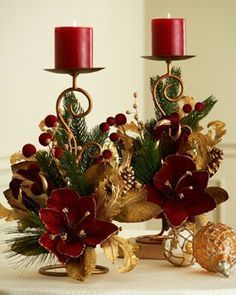 Rich Red and Gold Christmas Candle Decor Decoration Evenementielle, Noel Christmas, Christmas Table Decorations, Christmas Wreaths, Christmas Crafts, Christmas Ornaments, Advent Wreaths, Nordic Christmas, Elegant Christmas