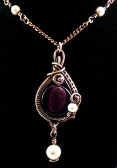"Adams Handcrafted Jewelry.  Purple Round Silver Foil Bead Pendant Copper Patina w/ 20"" Chain. The piece has a very ethereal design bringing about thoughts of distant ancient lands.  Custom piece."