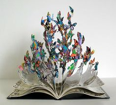 sculpture by David Kracov    Pages of the book transform into colorful butterflies, each representing thousands of children that were saved from the devastated region of Chernobyl and given new lives.