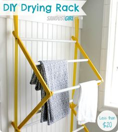 DIY Home Ideas | Make a Pottery Barn inspired laundry drying rack for under $20!