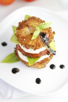 Caprese Salad Stack with Balsamic Cream Drizzle {sub in Grapeseed Oil for extra health benefits!}   bellalimento.com