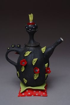 """Red Rose's Tea, 2007  LP1-21-C  Porcelain, Polymer Clay, Vintage Buttons  9""""H x 6 1/2""""W x 4"""""""