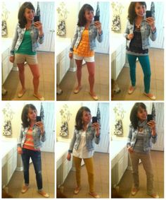 Look how the denim jacket spans all 4 seasons!!!  (AND the nude flats!)