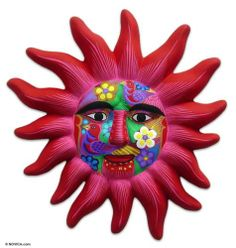 Ceramic Wall Mask Sculpture Mexican Folk Art Handmade 'Red Sun' Novica Mexico | eBay
