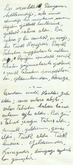 Kendi el yazısıyla Türk ve Türklük ile ilgili görüşleri