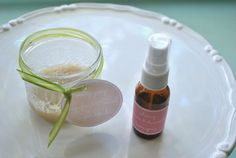 Energizing grapefruit & mint sugar scrub and relaxing lavender chamomile linen spray