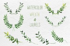 Watercolor set of wreath and laurels by SmartDesign on Creative Market