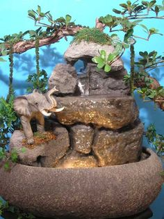 Indoor Fountains Tabletop...love this...minus the elephant.