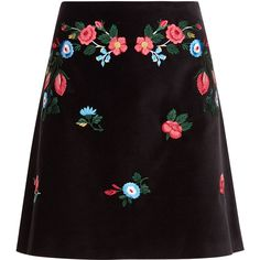 Vivetta Black Embroidered Mini Agave Skirt ($400) ❤ liked on Polyvore featuring skirts, mini skirts, bottoms, vivetta, floral a line skirt, floral printed skirt, short mini skirts and flower print skirt