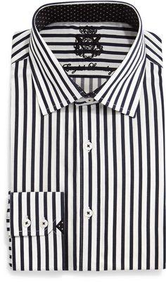 English Laundry Striped Woven Dress Shirt, Black/White