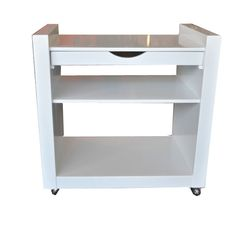 white cart with shelves and drawers | High gloss white lacquer rolling cart with one drawer and one shelf on ...