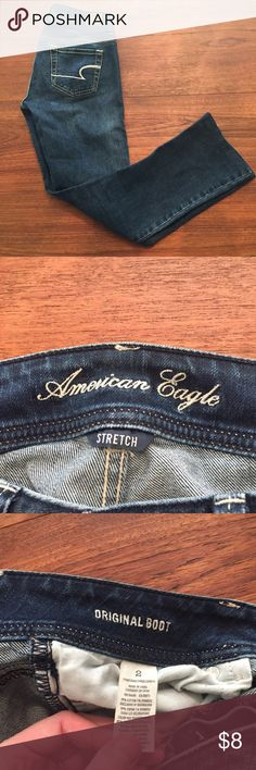 American Eagle Jeans (7) Classic dark blue jeans, bootcut. Size 2. Used, no damage but the bottoms have been hand hemmed. ♥︎Moving in a couple weeks, need my closet cleaned out. Check out my closet for more great items at low prices! Bundle to save ♥︎ ☀︎FREE GIFT with orders over $20!☀︎ American Eagle Outfitters Jeans Boot Cut