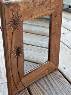 Dandelion  Woodburned Mirror by LazyLightningArt on Etsy, $22.00