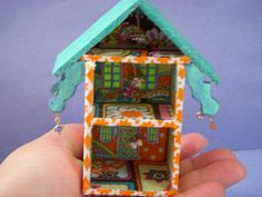 Cloth covered wooden doll house by TheSmallerTheBetter on Etsy, $45.00