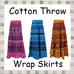 Long Cotton Throw Wrap Skirts