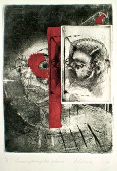 ELAINE d'ESTERRE - Contemplating the Glance, 1/1, 2010, intaglio, drypoint and chine-colle 25x18 cm print, 50x35 cm paper by Elaine d'Esterre at http://elainedesterreart.com and http://www.facebook.com/elainedesterreart/ and http://instagram.com/desterreart/