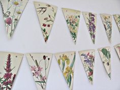 Spring and summer flowers bunting ~ Countryside paper garland ~ Floral banner ~ Upcycled Eco-friendly gift ~ Wedding decor ~ Tea party flags