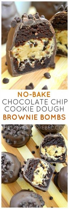 These No-Bake Chocolate Chip Cookie Dough Brownie Bombs are the ultimate treat! Egg-free cookie dough is wrapped with fudgy brownies and coated in rich milk chocolate. A chocolate lover's dream! (Fudge No Baking Cookies) Cookie Dough Brownies, Chocolate Chip Cookie Dough, Fudgy Brownies, Chocolate Brownies, Chocolate Desserts, Chocolate Chocolate, Cookie Dough Desserts, Chocolate Smoothies, Oreo Desserts