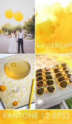 Looking for your wedding color palette? The Perfect Palette wants to help! The Perfect Palette is dedicated to helping you see the many ways you can use color to bring your wedding to life. Yellow Wedding Colors, Spring Wedding Colors, Wedding Color Schemes, Yellow Weddings, Yellow Pantone, Pantone Color, Pantone 2016, Pallet Wedding, Wedding Consultant