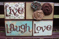 Home Decor Blocks  Live Laugh Love by PaisleyandPetunia on Etsy, $23.00
