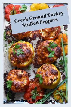 These stuffed peppers are filled with ground turkey, feta, capers, and mozzarella! Make this yummy dinner tonight! Healthy Summer Dinner Recipes, Delicious Dinner Recipes, Lunch Recipes, Healthy Recipes, Greek Stuffed Peppers, Ground Turkey Stuffed Peppers, Turkey Casserole, Casserole Recipes, Easy Family Dinners