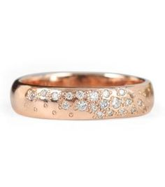 Moonlit Pavé Band by    Meredith Kahn - a rose gold and diamond ring from CatBirdNYC