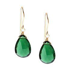 Emerald Quartz Just One Drop Earrings