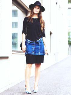 Streetstyle-Stars wie Bloggerin Michèle Krüsi zeigen wie der Rock-über-Kleid-Look funktioniert.