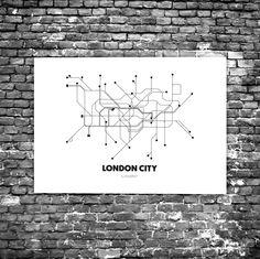 London City C2 - Acrylic Glass Art Subway Maps (Acrylglas, Tube, Underground)
