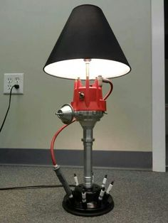 Distributor, spark plugs & HT lead table lamp