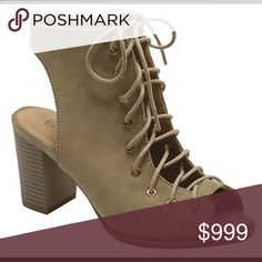 Coming Soon • Taupe Lace Up Peep Toe Fall Booties Coming Soon Pretty Persuasions Shoes Ankle Boots & Booties